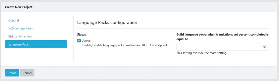 Create project Language packs tab