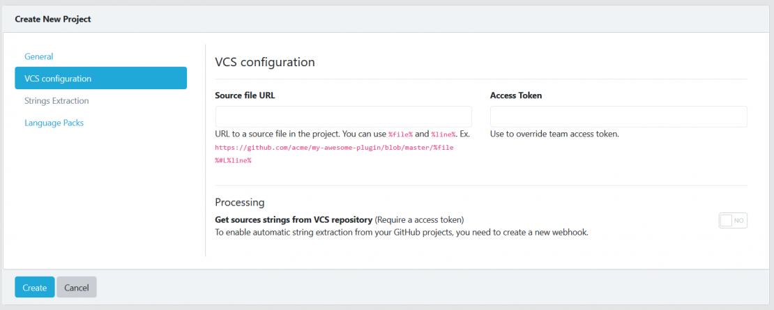 Create project VCS tab